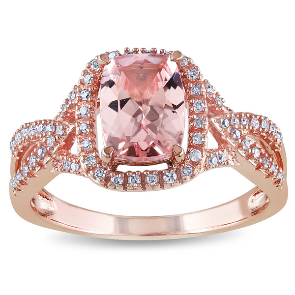 10k Rose Gold Cushion-Cut Morganite and 1/6ct TDW Diamond Crossover Engagement Ringby The Miadora Si