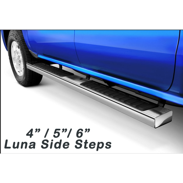2001 - 2013 Chevy Silverado Light Duty/ Heavy Duty Crew Cab Luna Series Stainless Steel 4-inch Flat Oval Side Step